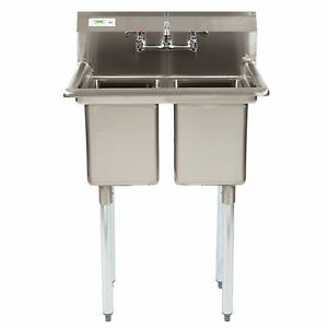 27 Two Compartment Stainless Steel Commercial 2 Sink Utility Hand Wash Utility