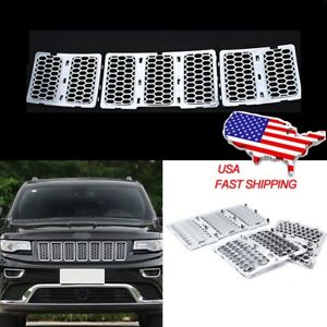 7pcs Chrome Front Mesh Grill Insert For 2014 2015 Jeep Grand Cherokee Wk Laredo