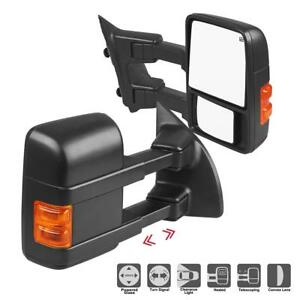 For 99 07 Ford F250 Super Duty Side Mirror Power Heated Towing Mirrors Pair Set