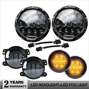 7 Led Headlight smoke Front Turn Signal Lamp 4 Fog Light For Jeep Wrangler Jk