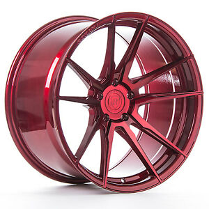 20 Rohana Rf2 Gloss Red Concave Wheels For Audi R8 20x9 And 20x11