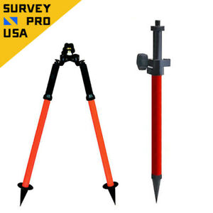 Mini Prism Pole Bipod Combo W precise Tip Stakeout Total Station Prism Survey