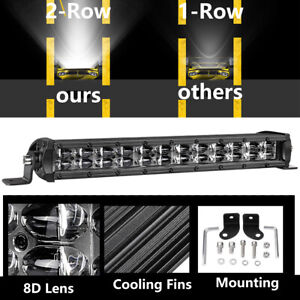 12 In Single Row Led Work Light Bar 8d Super Slim 120w Combo Beam Offroad Jeep