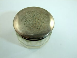 Sterling Vanity Jar Glass And 925 Monogrammed Antique