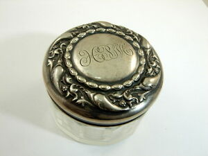 Antique Sterling Glass Vanity Jar Floral Motif