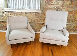 Milo Baughman Mid Century Danish Modern King Queen Lounge Chairs For James Inc