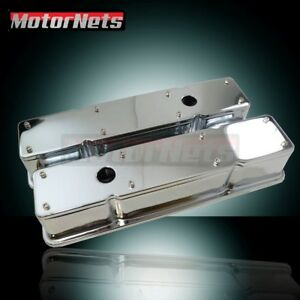 Sbc Chrome Sb Chevy 2 Piece Tall Valve Cover 283 327 350 383 400 Removable Top