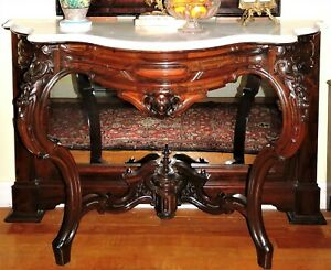 Marble Top Pier Table Console Rosewood Meeks Nyc Rococo 51 W C1860