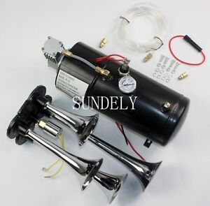 Quad 4 Air Train 12v Kit Semi Truck Car Boat Chrome Horns W 150 Psi Compressor