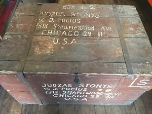 Antique Primitive Wood Shipping Box Trunk Crate Chest Chippy Paint Chicago Old