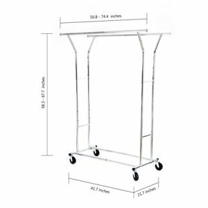 Double Rail Clothing Garment Rack Adjustible Commercial Grade Hanging Clothes