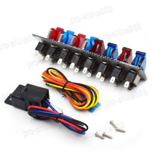 Racing Car 4 Blue 4 Red Patterns Ignition Toggle Switch Panel Led On off 12v
