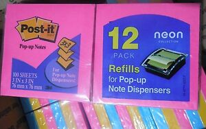 Lot Of 4 12 pack Post it Notes 3x3 For Pop up Note Dispensers neon Colors ae