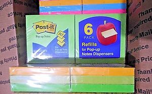 Lot Of 7 12 pack Post it Notes 3x3 For Pop up Note Dispensers neon Colors af