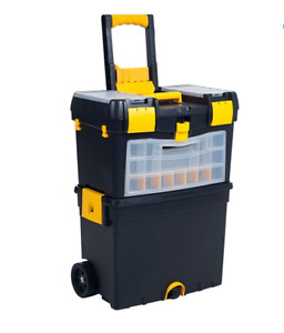 Portable Tool Chest Mobile Work Station Storage Box Organizer Rolling Cart Black