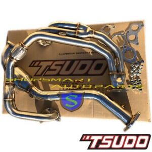 Tsudo Stainless V2 Uel Header Downpipe W Catless For Impreza 2 5 Rs 1997 2005