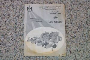 International Ih 470 Lister Cultivator Godig Operator s Manual Nice Look