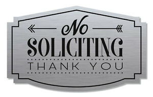 No Soliciting Sign Thank You Brushed Aluminum black
