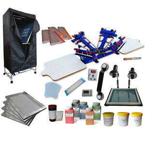 4 Color 2 Station Screen Printing Kit Drying Cabinet Exposure Unit Diy Ink