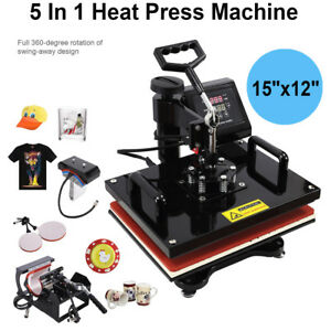 5 In 1 12 X 15 Heat Press Machine Digital Sublimation T shirt Mug Plate Hat