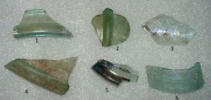 Lot Of 6 Ancient Roman Glass Fragments With Very Lovely Patina Amazing