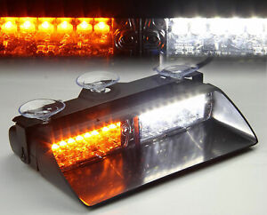 16led Emergency Car Windshield Flash Strobe Warning Lights White Amber Light 12v