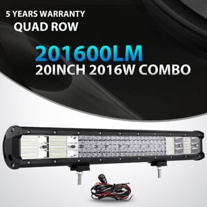 Quad Row 20inch 2016w Led Light Bar Combo Offroad For Jeep Ford Truck Suv 22 23