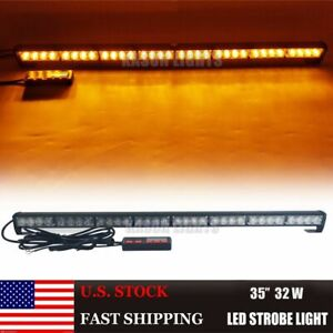 32 Led Amber Traffic Light Bar Directional Flasher For Emergency Vehicles Yellow
