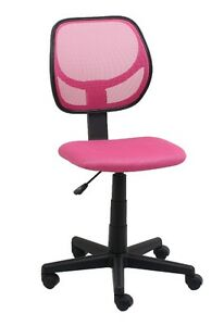 Mid back Armless Office Reception Task Chair In Pink Mesh W Adjustable Height