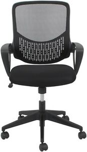 Office Reception Task Chair In Black Fabric With Mesh Back Adjustable Height