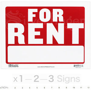 For Rent Sign 9x12 Inch Weatherproof Plastic Apartments Houses Offices X1 2 3