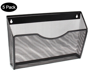 New 5 Pocket Mesh Wall Mounted Metal File Cabinet Organizer Mail Holder Black