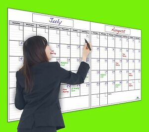 Usi Dry Erase 2 Month Wall Calendar 36 x60 Never Leaves Marker Stains