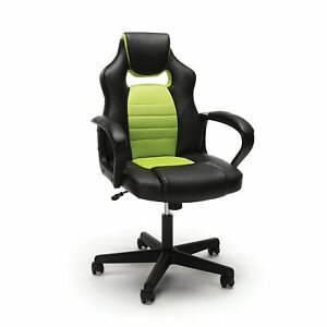 Racing Style Gaming Office Chair In Black Softthread Leather Green Mesh