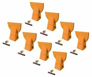 8 Cat J200 Style Backhoe Bucket Flare Teeth W Pins Retainers 109 9200