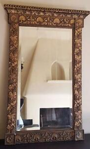 Beautiful Antique Victorian Solid Wood Platform Mirror Gild Gorgeous Detail