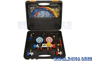 4 Way Manifold Vacuum Gauge Set R134a R410a R22 A c Ac Hvac Refrigeration Kit