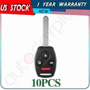 10 Replacement Uncut For 2004 2007 Honda Accord Remote Keyless Entry Key Fob