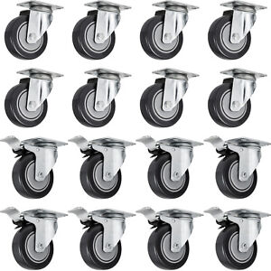 16 Pack 5 Swivel Caster Wheels Rubber Base With Top Plate Bearing Heavy Duty