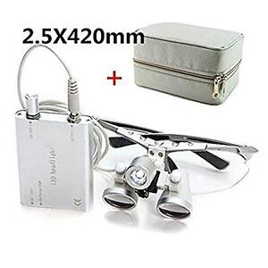 Zorvo 2 5x 420mm Dental Surgical Medical Binocular Loupes Led Head Light