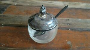 Antique Glass Sugar Bowl With Carlton Silver Plated Spoon