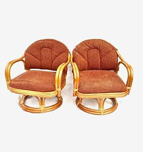 Vintage Child S Bamboo Rattan Swivel Chairs Set Of 2
