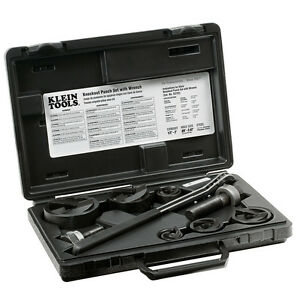 New Klein Tools 53732sen Knockout Punch Set With Wrench