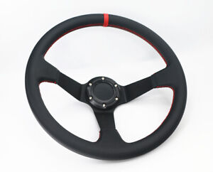 Deep Dish 350mm 6 Hole Leather Red Stitch Racing Sport Steering Wheel