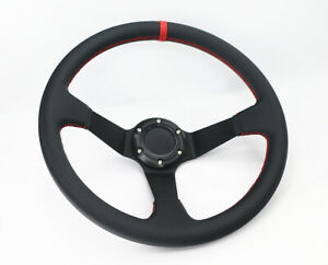 Deep Dish 350mm 6 Hole Leather Sp Red Stitch Racing Sport Steering Wheel Horn