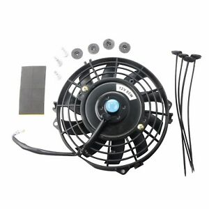 7 Inch Black Universal Electric Radiator Slim Fan Push Pull 12v Mounting Kit