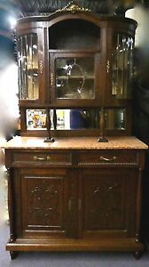 Antique Carved French Court Hunt Cupboard Marble Top Leaded Glass 1870 88 T