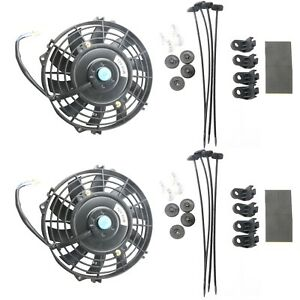 2x 7 Inch Black Universal Electric Radiator Slim Fan Push Pull 12v Mounting Kit