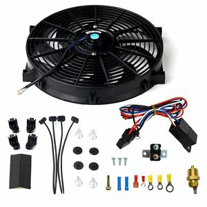 14 Electric Cooling Radiator Fan 3 8 Probe Ground Thermostat Switch Kit Black