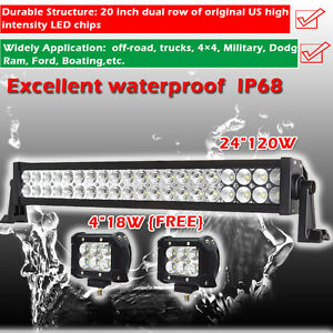 Combo Offroad Led Light Bar 24inch 120w 4 18w Cree Work Pods Wrangler Suv Boat
